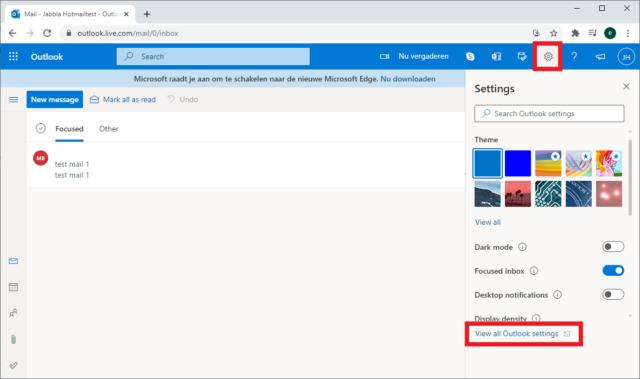 Screengrab hotmail settings