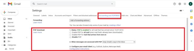 Screengrab in Gmail of POP settings