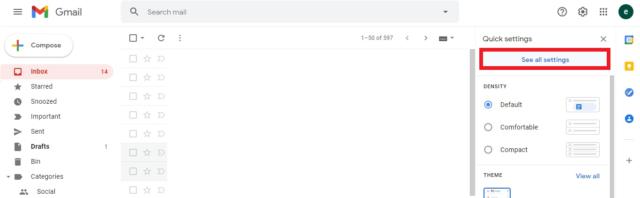 Screengrab in Gmail see all settings